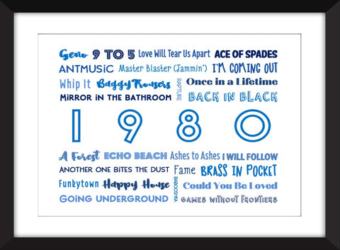 1980 in Music - Ideal Gift for 40th Birthday - Unframed Typography Print