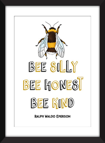 Bee Silly, Be Honest, Bee Kind Print - Ideal For Child's Bedroom