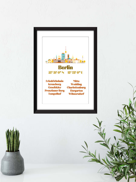 Berlin Cityscape with Coordinates and Neighbourhoods - Unframed Print