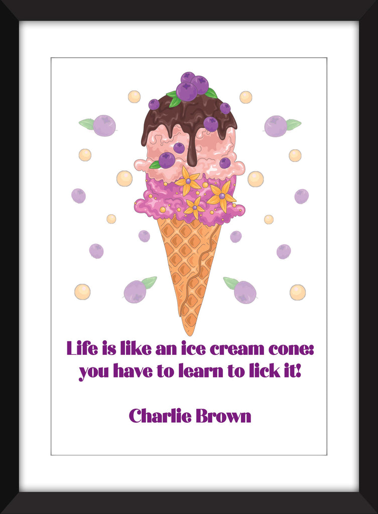 Charlie Brown - Life is Like An Ice Cream Cone Print - Ideal For Child's Bedroom