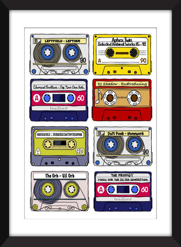 Classic 90s Electronic Albums - Unframed Print - Ideal Gift for Dance Music Fans