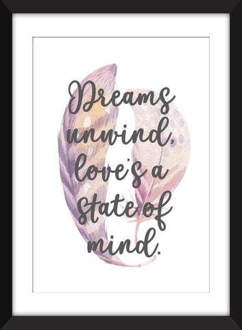 """Dreams Unwind, Love's A State of Mind"" Fleetwood Mac Rhiannon Lyrics  - Unframed Print"