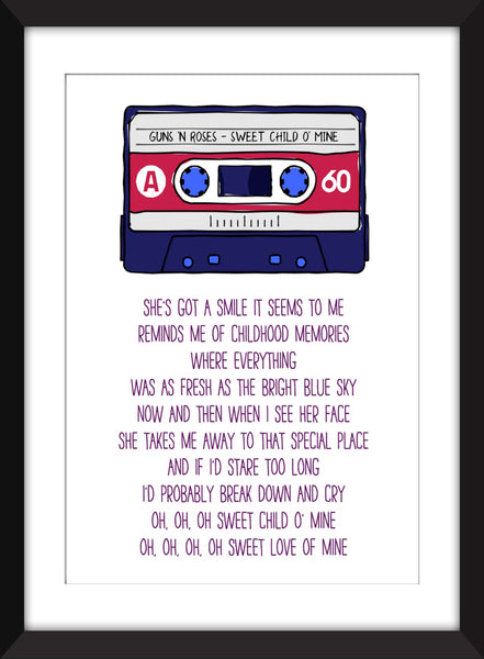 Guns N' Roses Sweet Child O' Mine Lyrics - Unframed Print