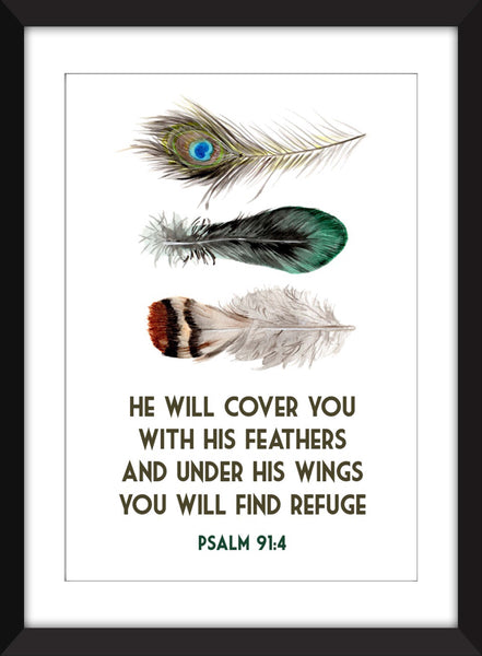 He Will Cover You With His Wings - Psalm 91:4 Verse - Unframed Print