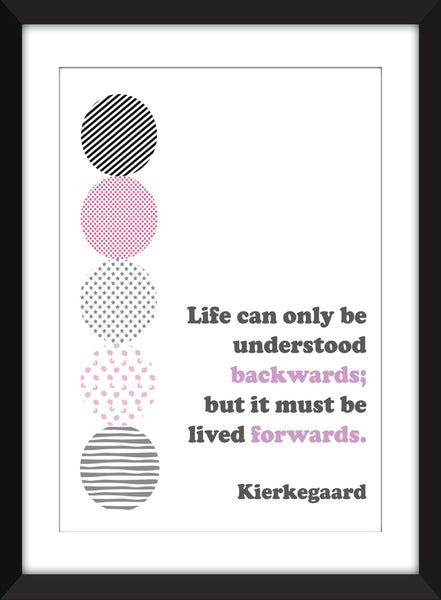 Kierkegaard - Life Can Only Be Understood Backwards Quote - Unframed Print