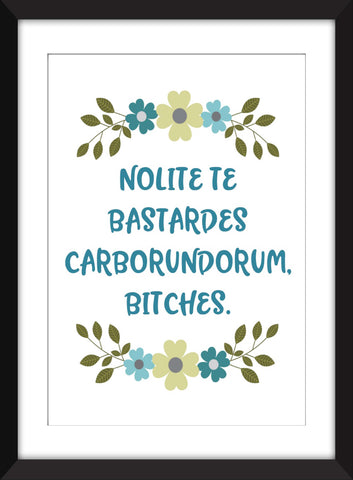 Nolite Te Bastardes Carborundorum, Bitches - The Handmaid's Tale Unframed Print