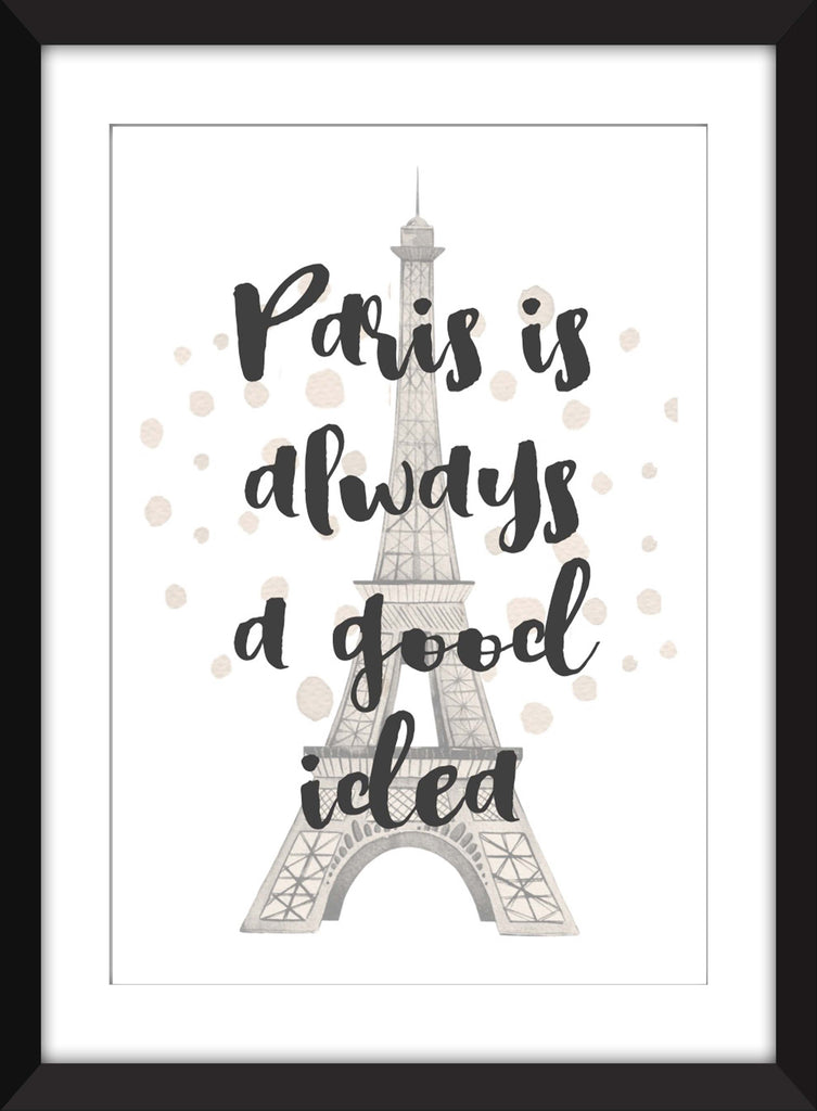 Audrey Hepburn Paris is Always a Good Idea Quote - Unframed Print