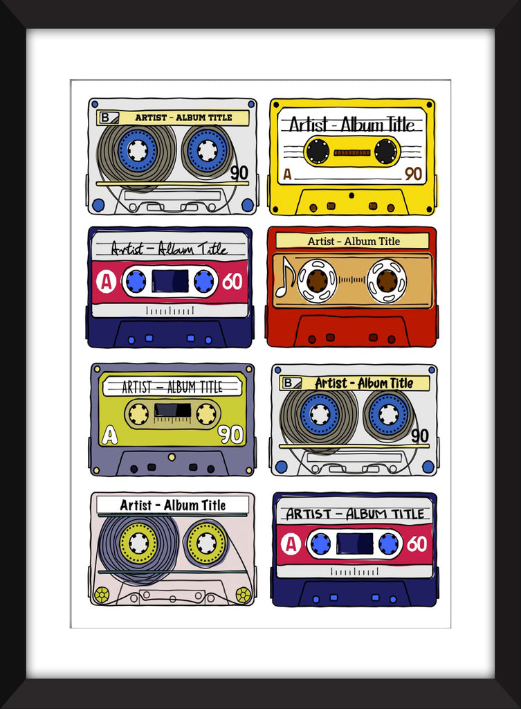 Favourite Albums - Personalised Unframed Cassette Print - Perfect Gift Idea