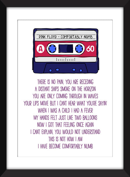Pink Floyd - Comfortably Numb Lyrics - Unframed Print