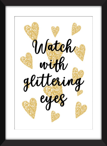 "Roald Dahl ""Watch With Glittering Eyes"" Quote - Unframed Children's Print"