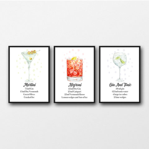 Set of 3 Gin Cocktail Prints - Unframed Prints