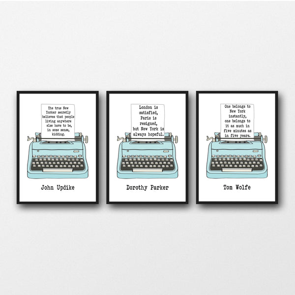 Set of 3 New York Quotes - Unframed Literary Prints