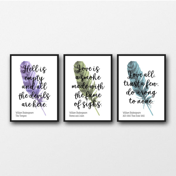 Set of 3 William Shakespeare Quotes - Unframed Prints