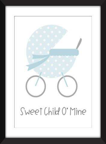 Sweet Child O'Mine - Guns N Roses Print For Nursery/Child's Bedroom - Unframed Print