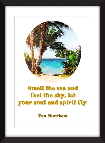Van Morrison - Smell the Sea and Feel the Sky - Into the Mystic Lyric - Unframed Print