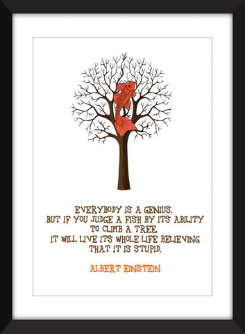 "Albert Einstein ""Stupid Fish"" Quotation - Unframed  Print"
