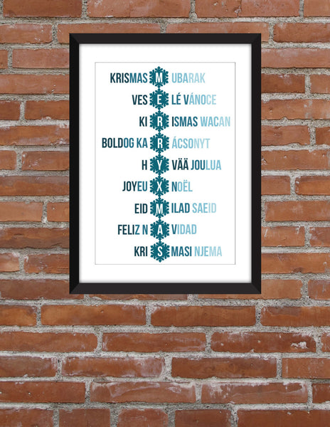 Merry Christmas in All Languages -  Unframed Typography Print
