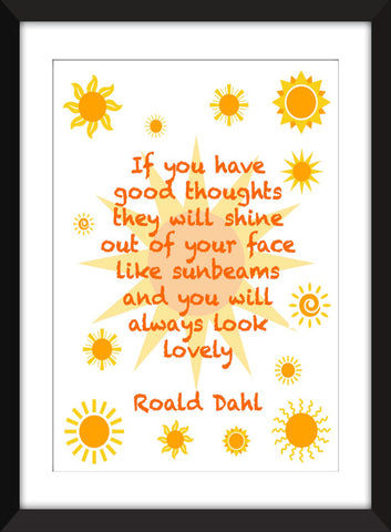 "Roald Dahl ""Sunbeams"" Quote - Unframed Print"