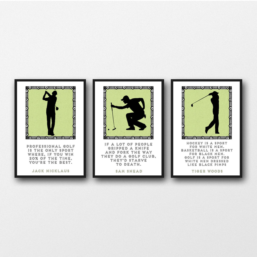 Set of 3 Golf Quotes - Unframed Prints
