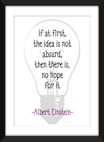 "Albert Einstein ""Ideas"" Quotation Unframed Print"