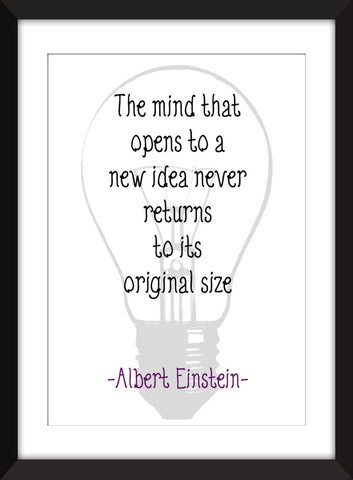 "Albert Einstein ""Open Mind"" Quote Unframed Print"
