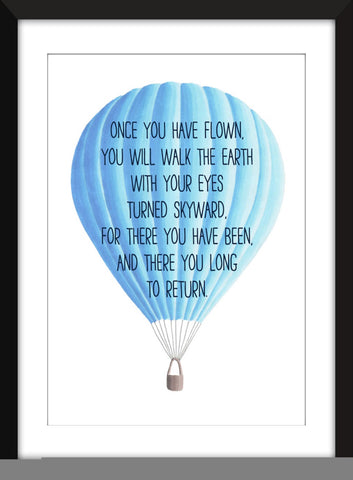 Leonardo Da Vinci Flying Quote - Unframed Children's Print