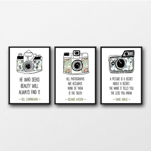 Set of 3 Photographer Quotes - Unframed Prints