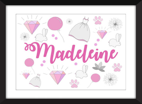 Personalised Girls Name Print - Perfect for Nursery