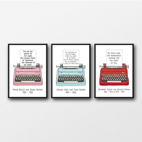 Set of 3 Romantic Love Letters - Unframed Prints