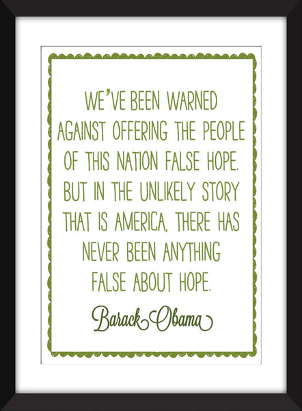 "Barack Obama ""Hope"" Quote Unframed Print"