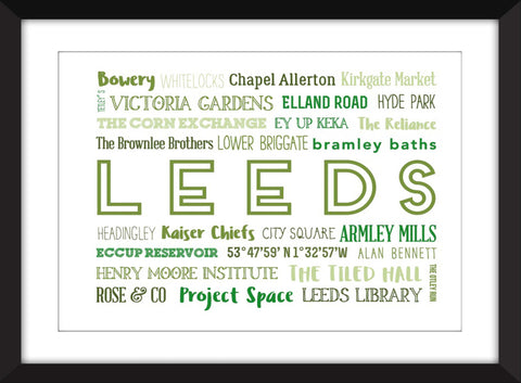 A Celebration of Leeds Unframed Typography Print
