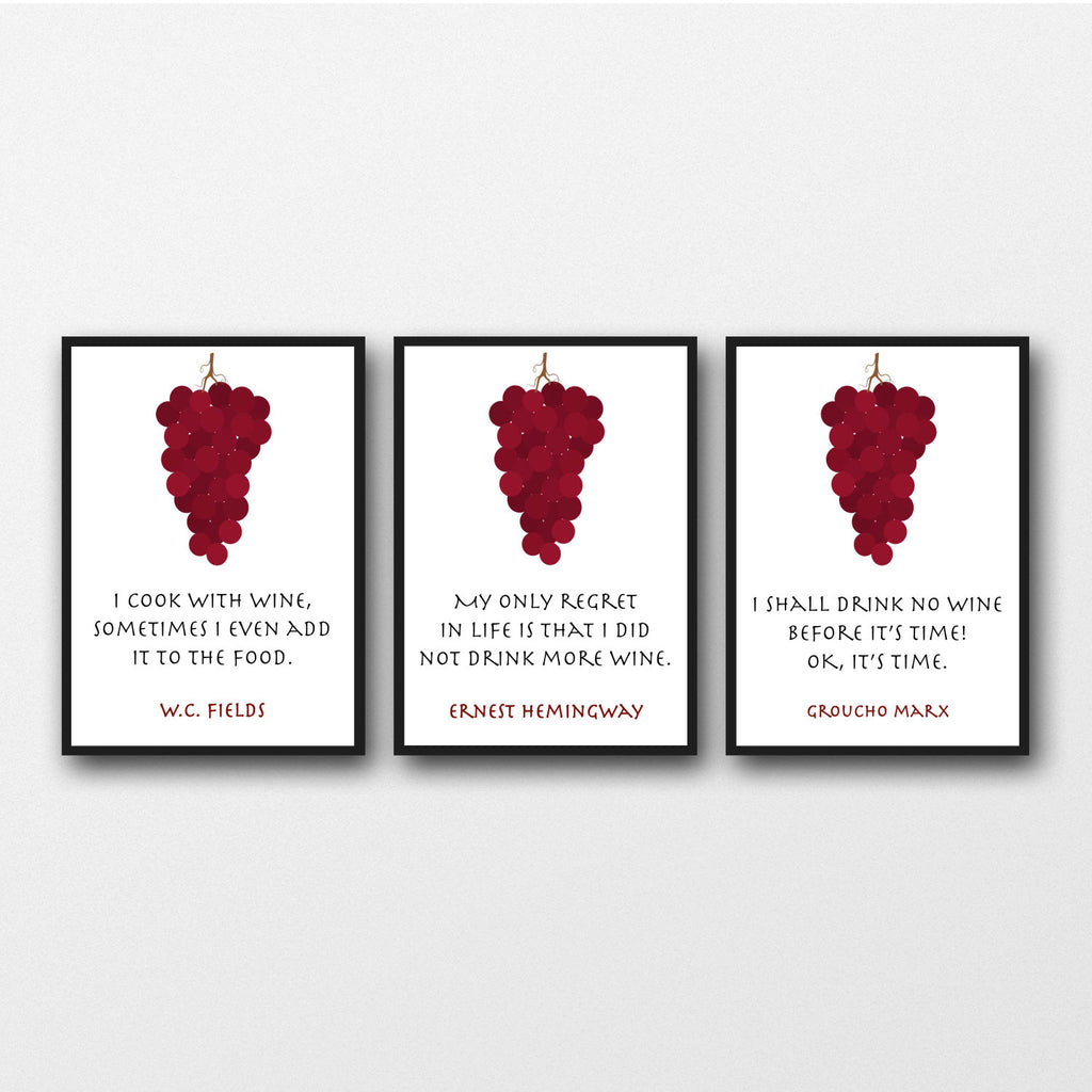 Set of 3 Wine Quotes - Unframed Prints