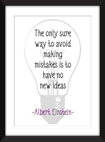 "Albert Einstein ""Mistakes"" Quote Unframed Print"