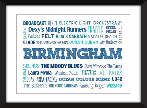 The Music of Birmingham - Unframed Typography Print