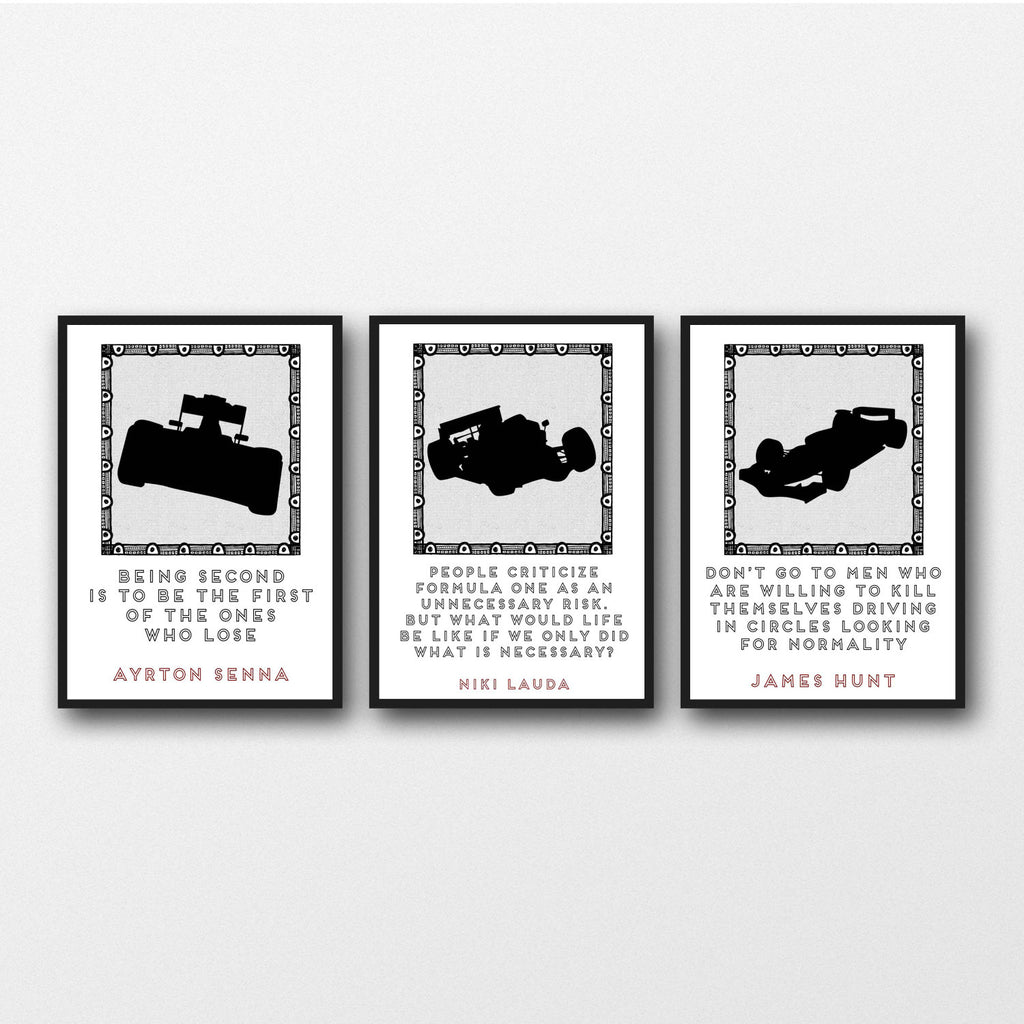Racing Quotes | Set Of 3 Formula 1 Racing Quotes Unframed Prints The Word