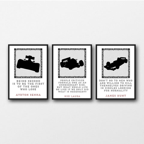 Set of 3 Formula 1 Racing Quotes - Unframed Prints