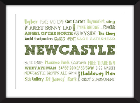 A Celebration of Newcastle Unframed Typography Print