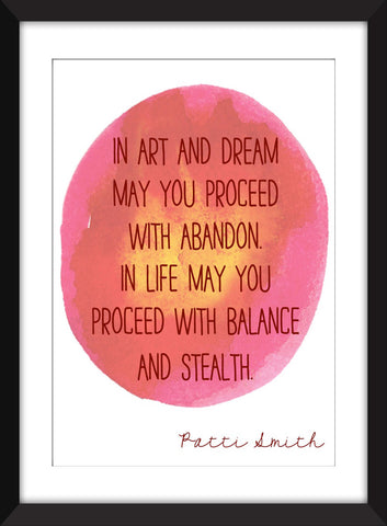 Patti Smith Art and Dream Quote - Unframed Print