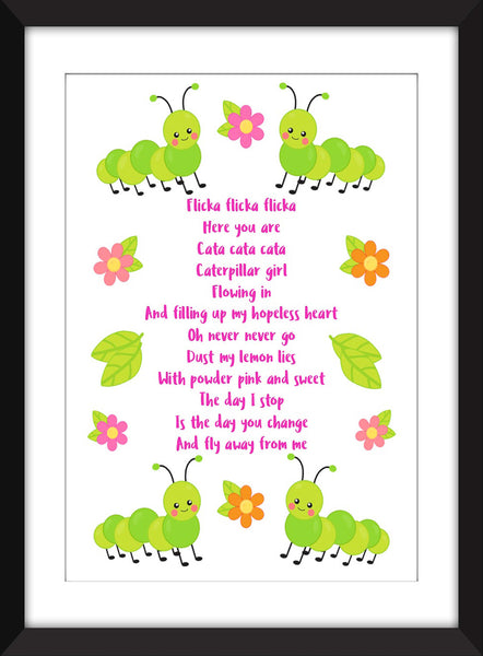 The Cure Caterpillar Lyrics - Unframed Print