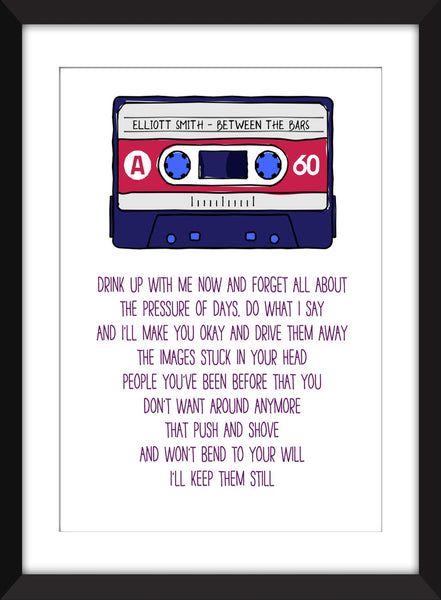 Elliott Smith Between the Bars Lyrics - Unframed Print