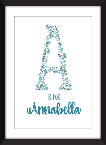 A is For/Children's Initial Unframed Print - Personalised Name Print for Babies