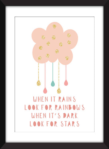 When It Rains Look for Rainbows - Unframed Children's Print