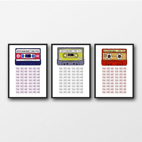 Set of 3 Favourite Song Lyrics Unframed Prints - Perfect Gift Idea