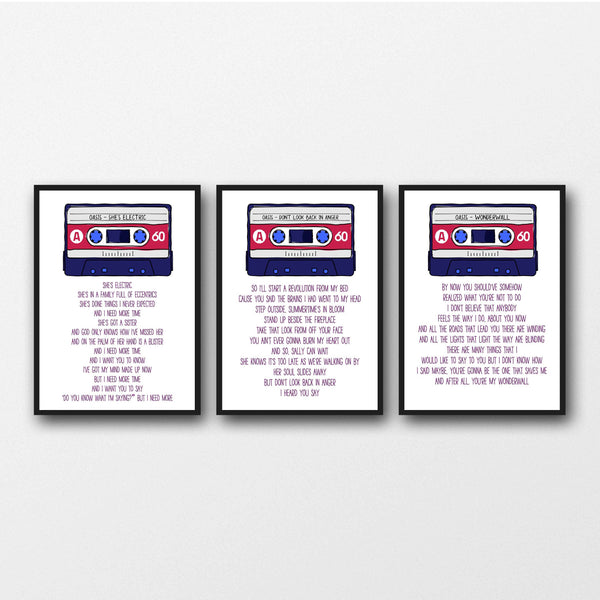Set of 3 Oasis Lyrics - Unframed Prints