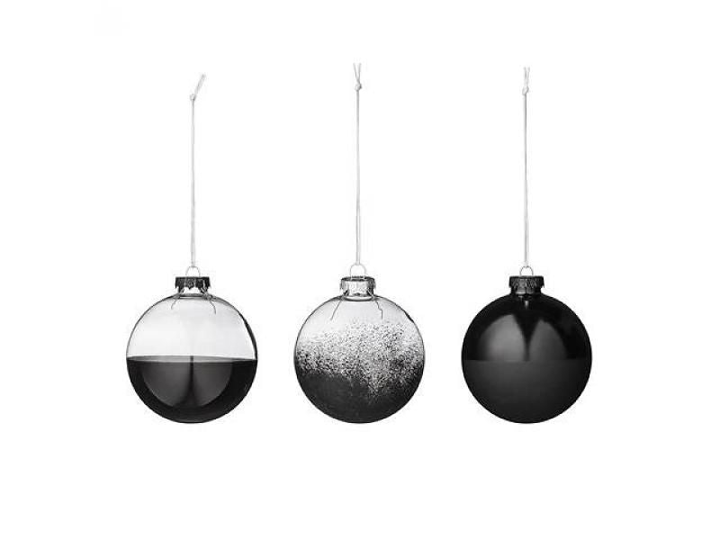 Black Dipped Bauble set of 3