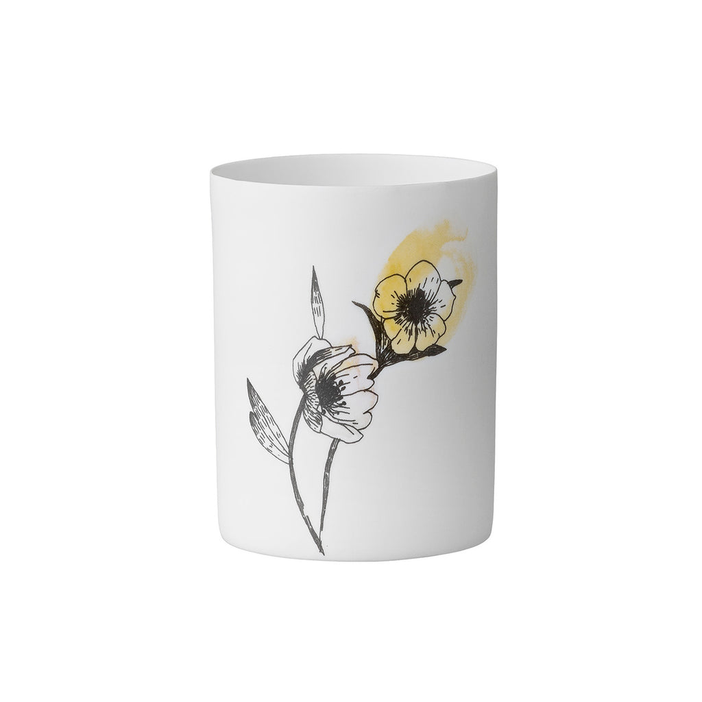 White Flower Illustration Ceramic Votive