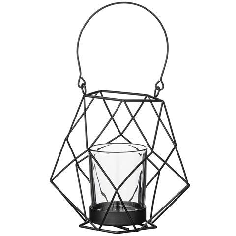 hanging black wire candle holder