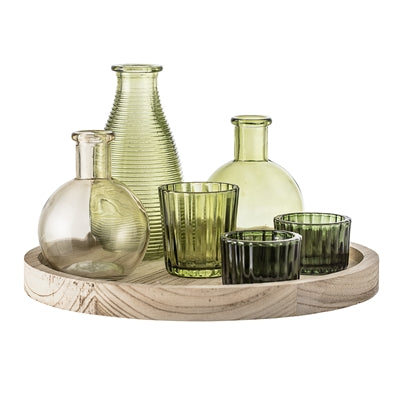Wooden Tray With Green Glass Bottles And Votives