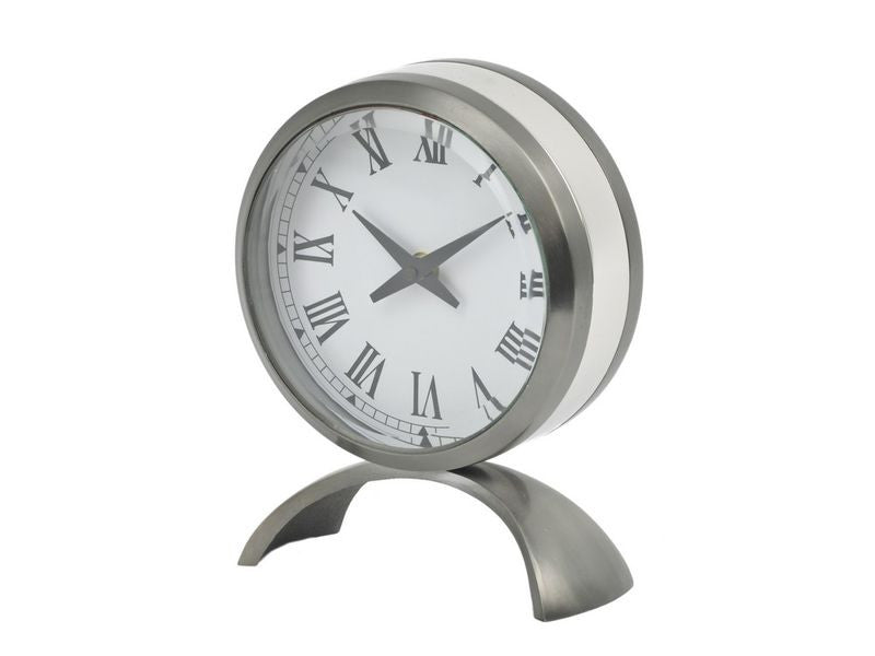 contrast satin grey and nickel table clock