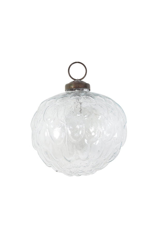Clear Glass Swirl Bauble Large